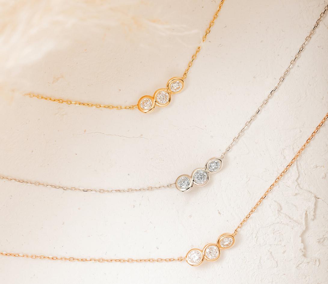 Collier 2 COURBET en or jaune 18K (2,00g) - diamants synthétiques - Courbet - Vue 4