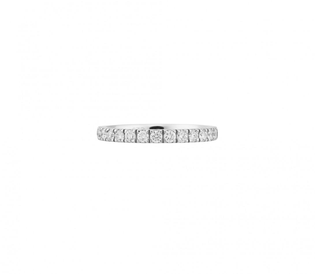 Alliance demi-pavée (2,3 mm) - Or blanc 18K (2,90 g), diamants 0,40 ct - Face