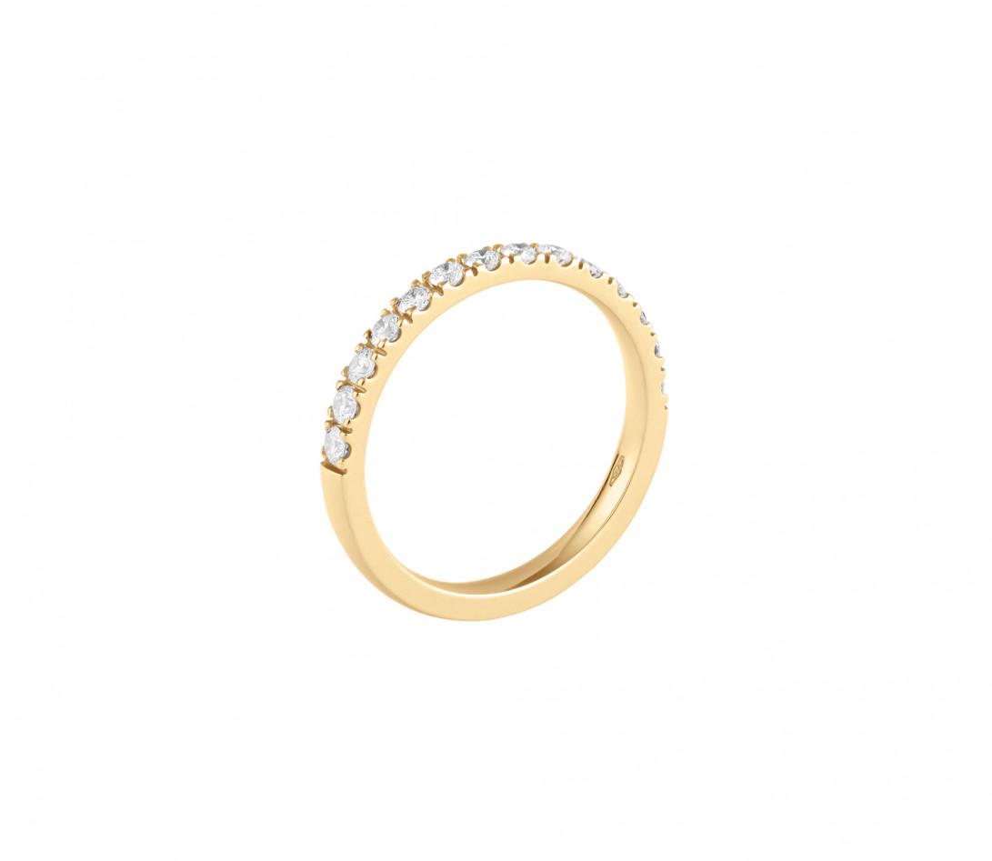 Alliance demi-pavée (2,3 mm) - Or jaune 18K (2,90 g), diamants 0,40 ct - Profil