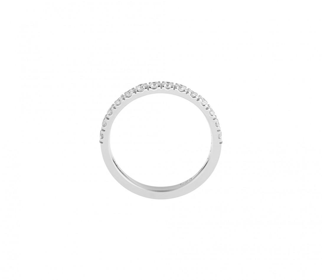 Alliance demi-pavée (2,3 mm) - Or blanc 18K (2,90 g), diamants 0,40 ct - Côté