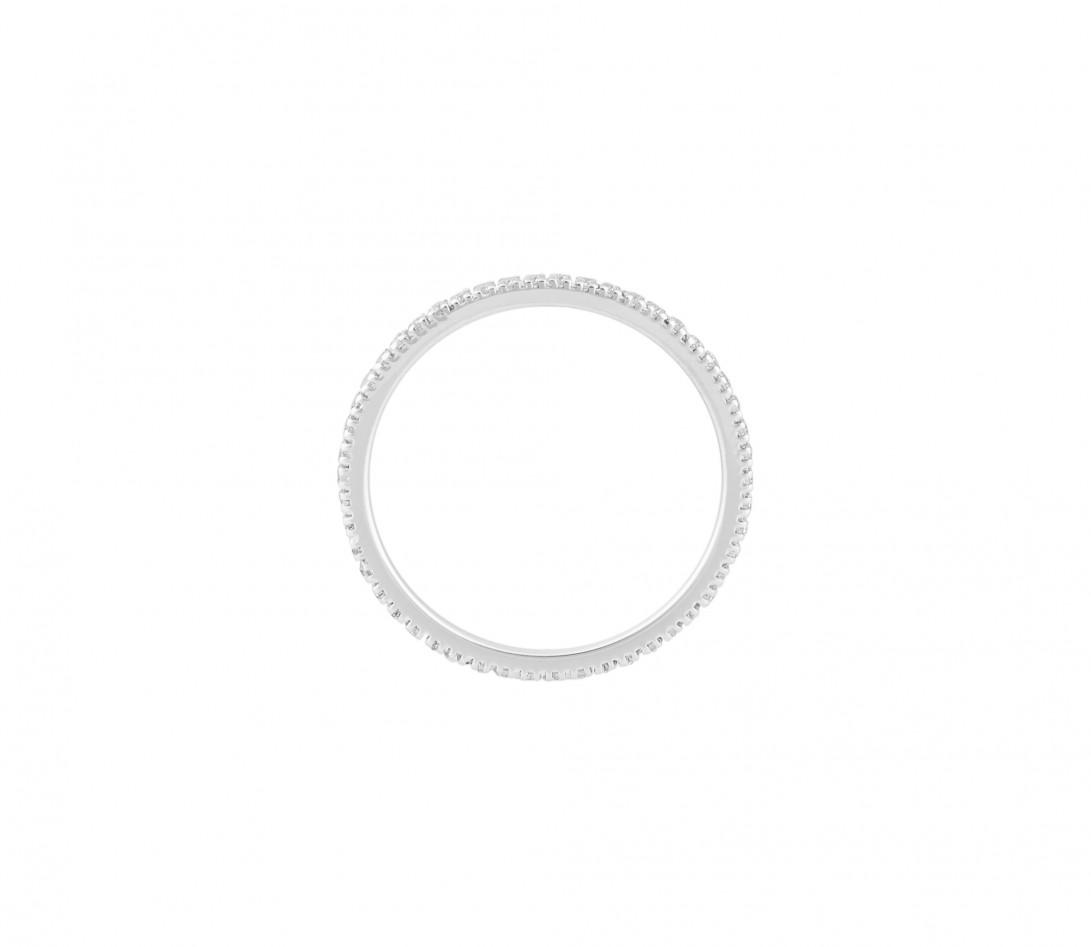 Alliance full-pavée (1 mm) - Or blanc 18K (1,00 g), diamants 0,30 ct - Côté
