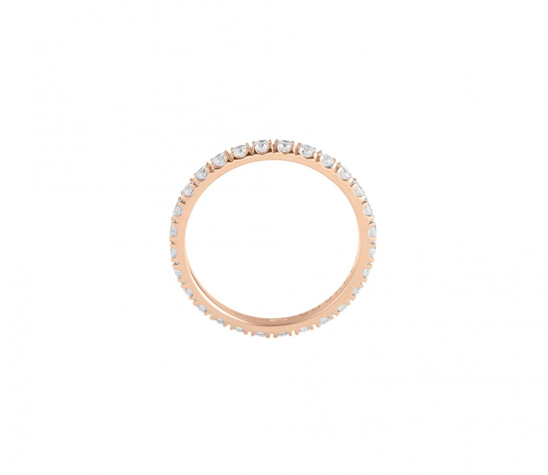 Alliance full-pavée (1,8mm) - Or rose 18K (1,50 g), diamants 0,60 ct - Côté