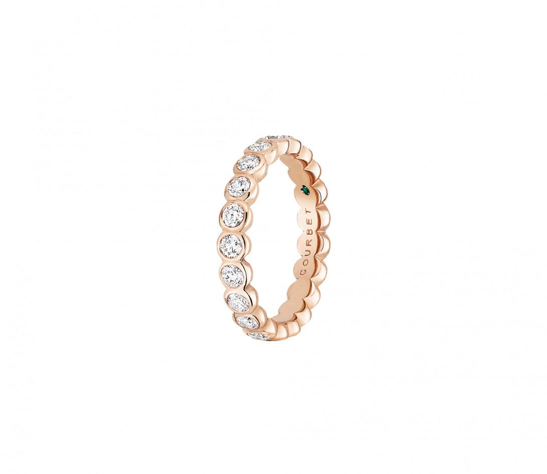 Anneau Or rose et Diamant de synthèse 1 ct - Origine - Courbet - Vue 2