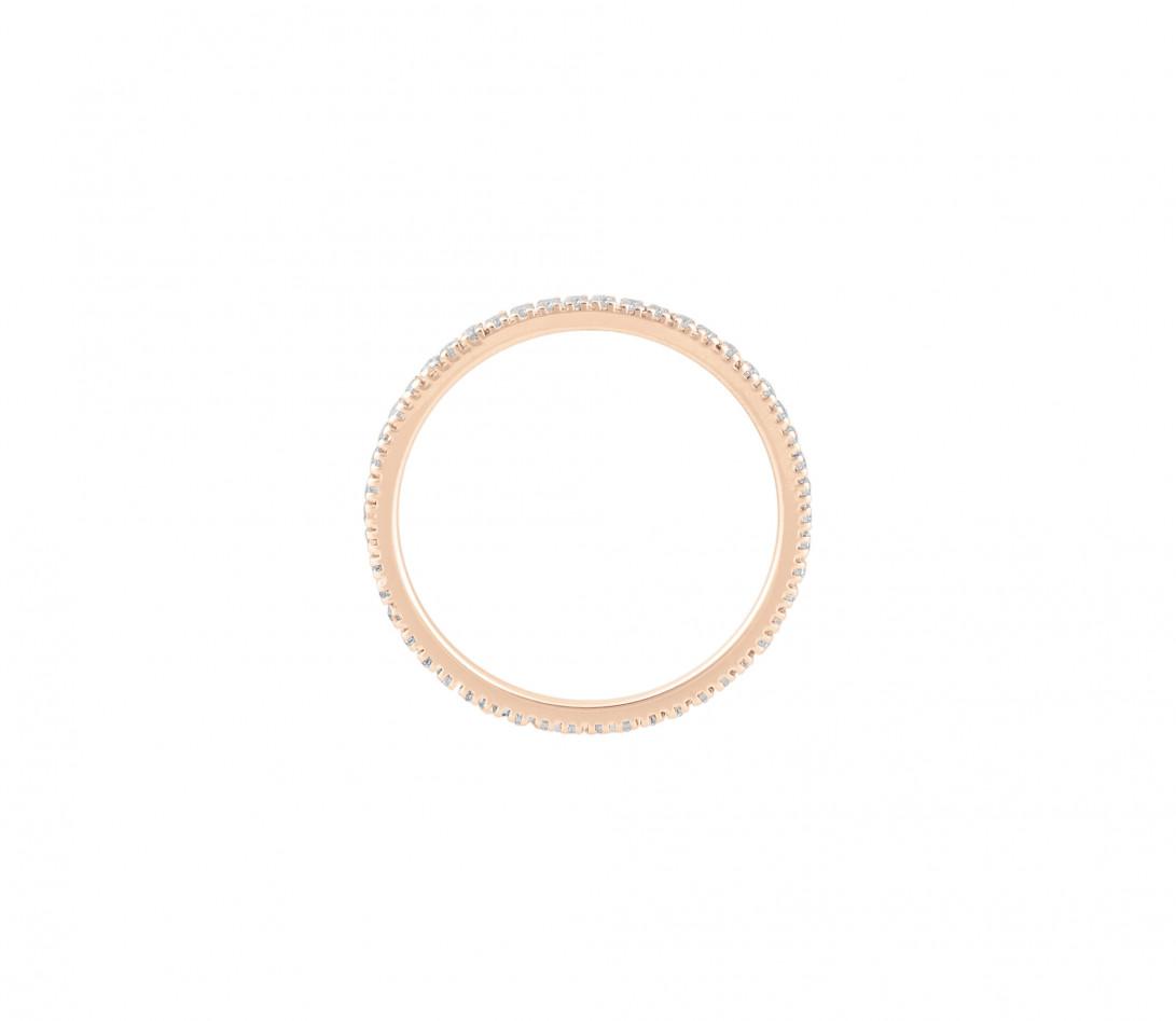 Alliance full-pavée (1 mm) - Or rose 18K (1,00 g), diamants 0,30 ct - Côté