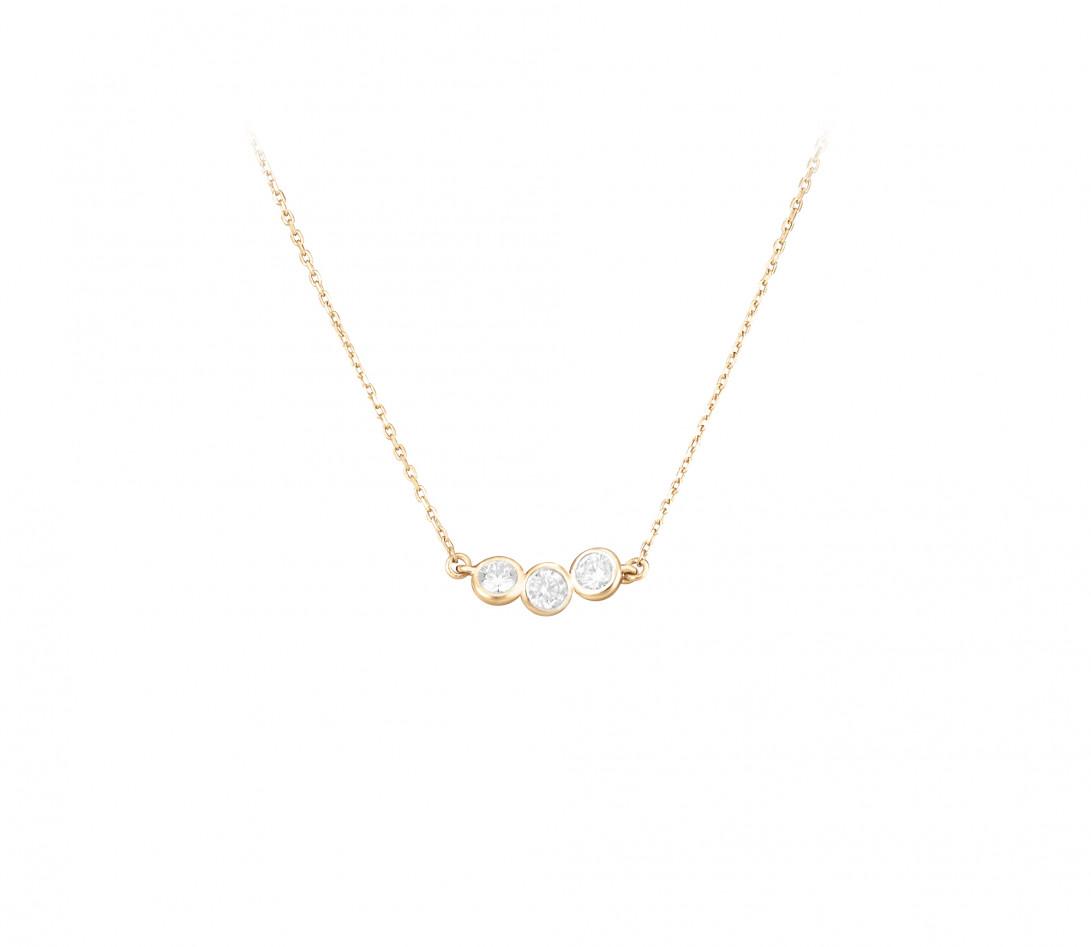 Collier 2 COURBET en or jaune 18K (2,00g) - diamants synthétiques - Courbet - Vue 1