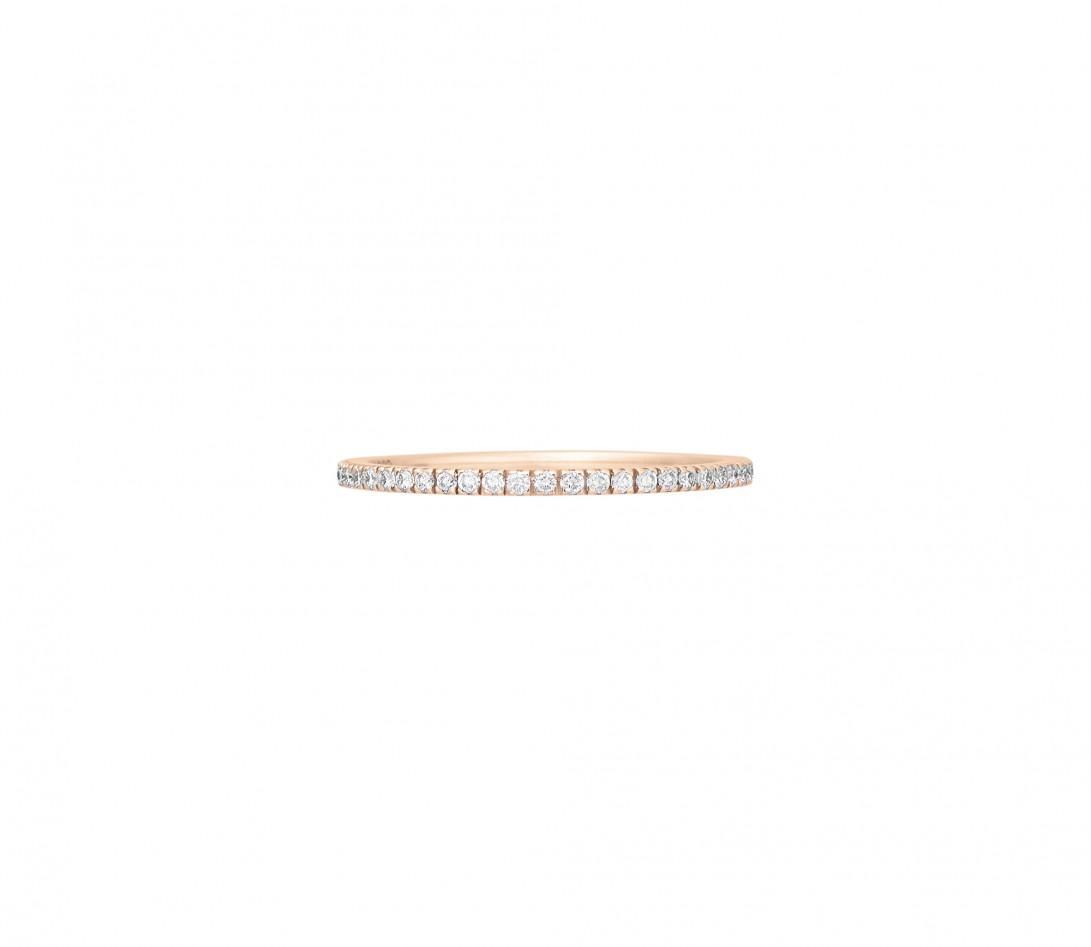 Alliance full-pavée (1 mm) - Or rose 18K (1,00 g), diamants 0,30 ct - Face