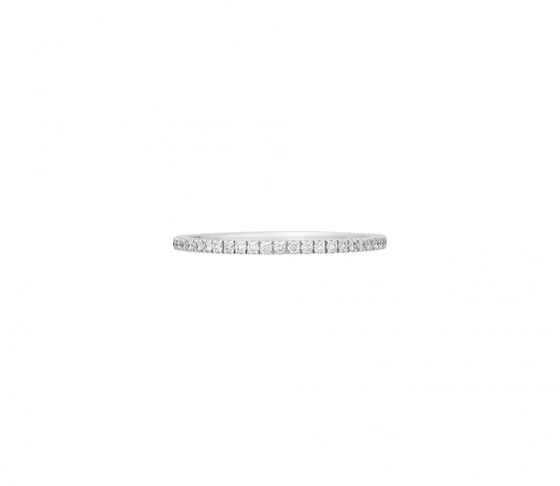 Alliance full-pavée (1 mm) - Or blanc 18K (1,00 g), diamants 0,30 ct - Face