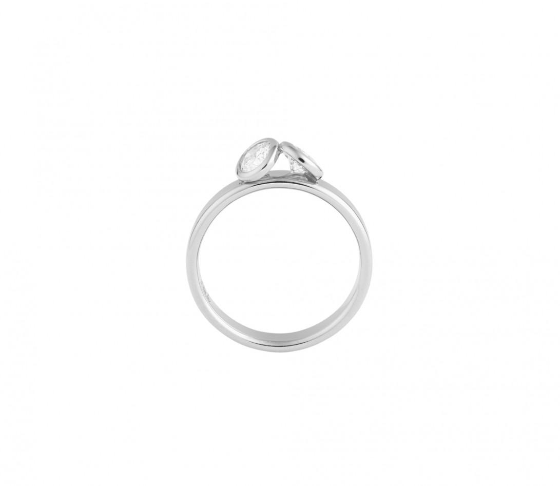 Bague 2 Courbet - Or blanc 18K (3,50g), 2 diamants 1ct - Vue 2