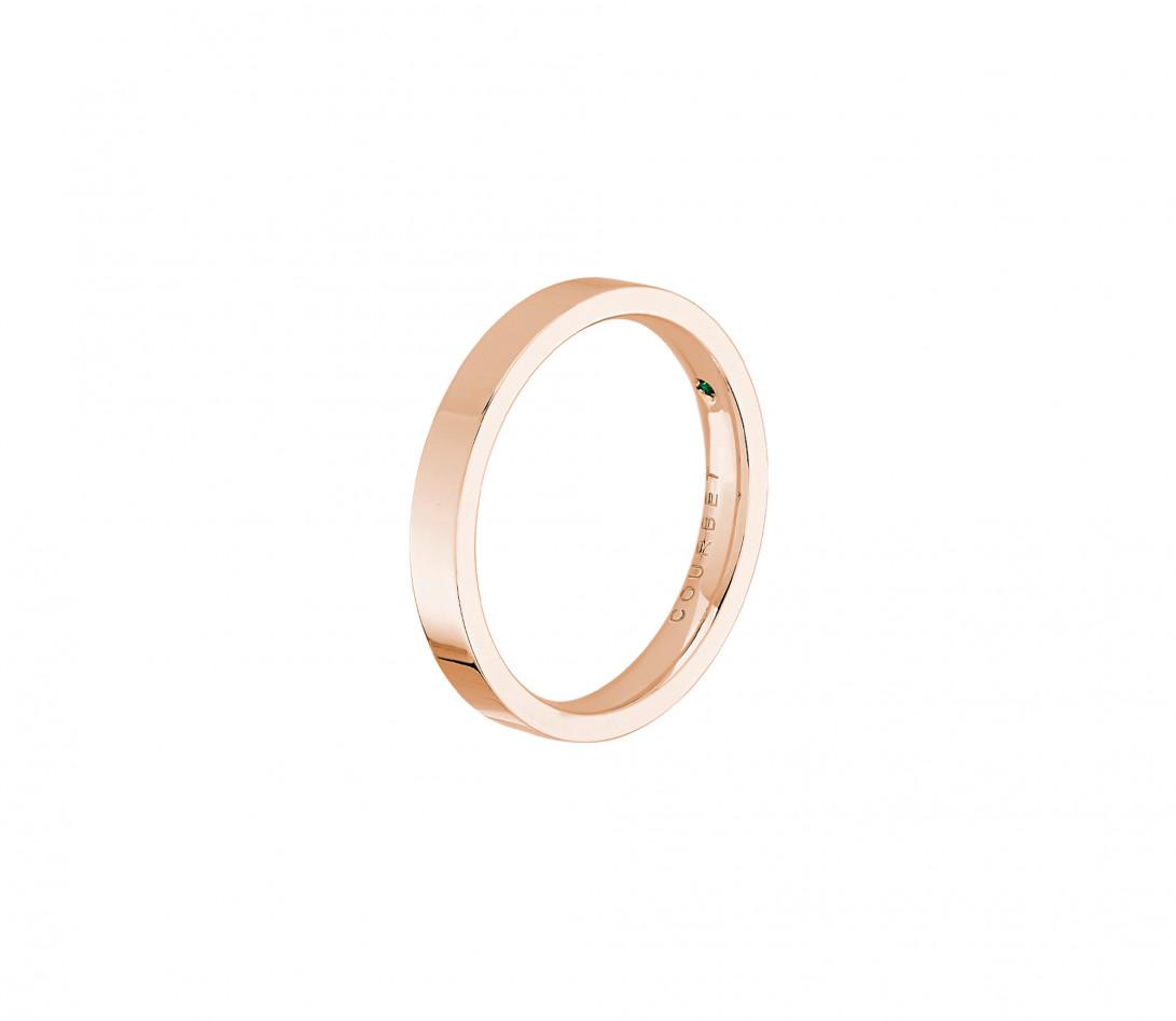 Alliance, 3mm plate en or rose- vue de côté