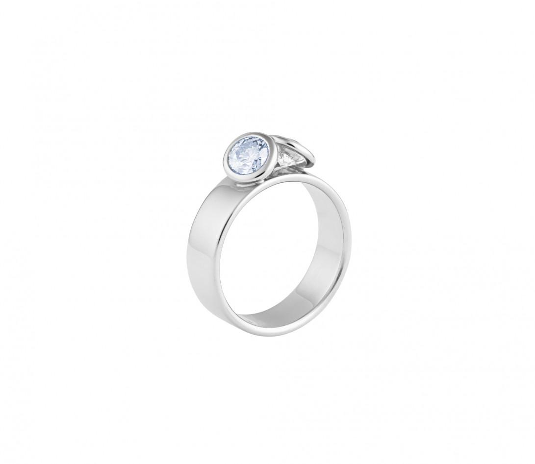Bague 2 Courbet - Or blanc 18K (7,00g), 2 diamants (1 bleu) 1ct - Côté