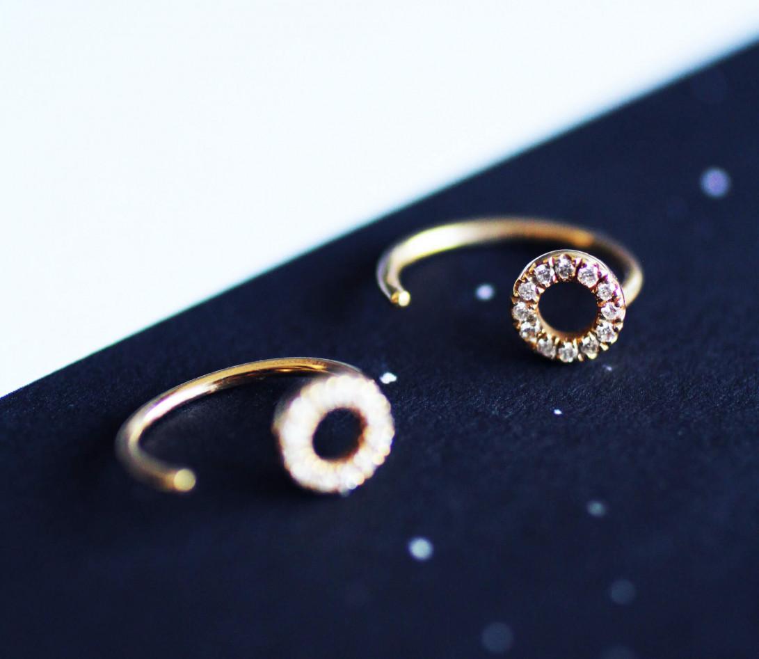 Boucles d'oreilles - Or rose 18K (1,50 g), diamants 0,12 cts - Vue 3