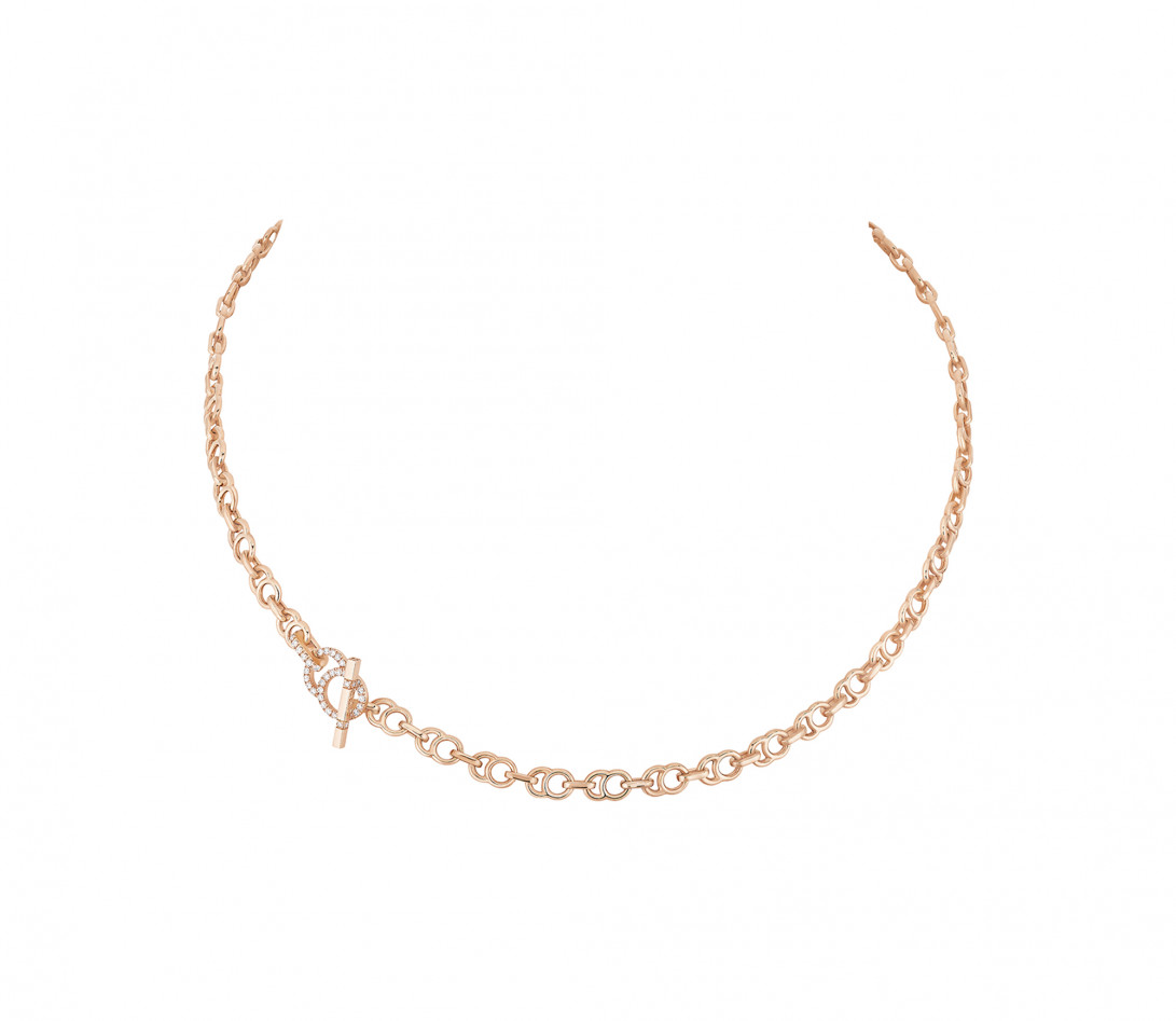 Collier chaîne CELESTE 38cm fermoir pavé en or rose - P1