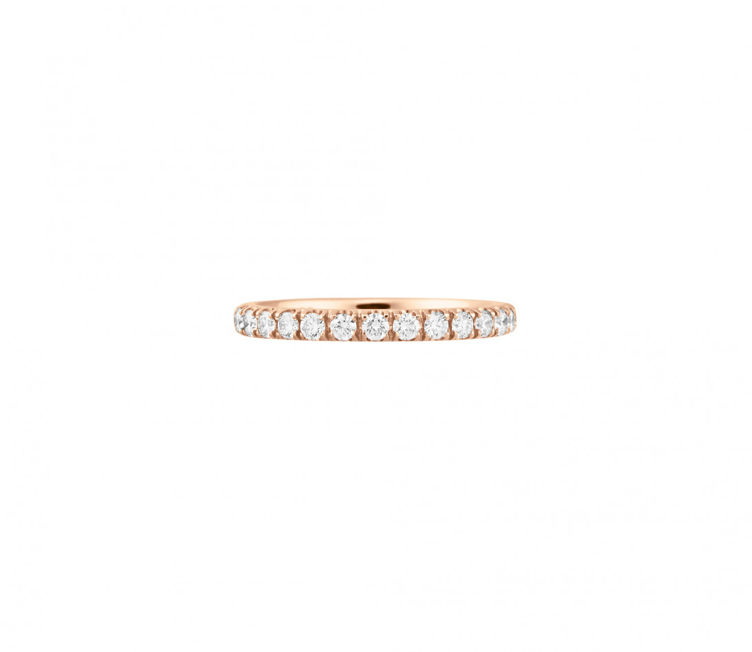 Alliance full-pavée (1,8mm) - Or rose 18K (1,50 g), diamants 0,60 ct - Face