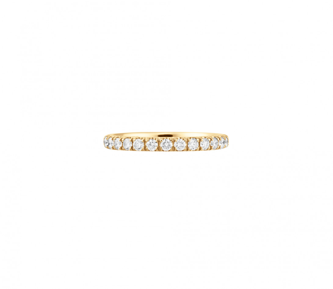 Alliance full-pavée (1,8mm) - Or jaune 18K (1,50 g), diamants 0,60 ct - Face