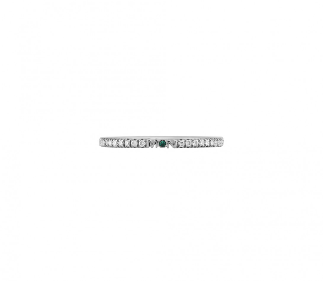 Alliance demi-pavée (1,4 mm) - Or blanc 18K (1,00 g), diamants 0,15 ct