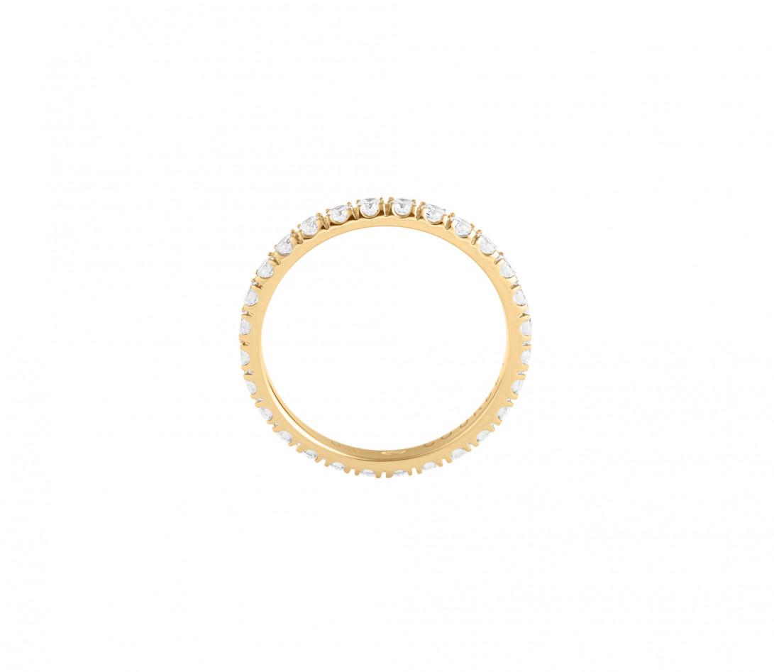 Alliance full-pavée (1,8mm) - Or jaune 18K (1,50 g), diamants 0,60 ct - Côté