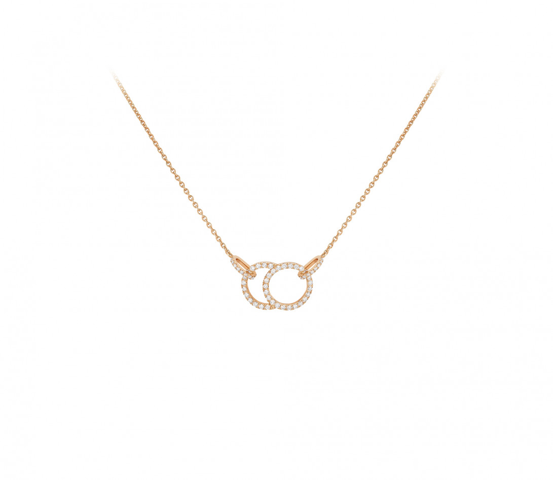 Collier - Or rose 18K (5,00 g), diamants 0,39 cts - Face