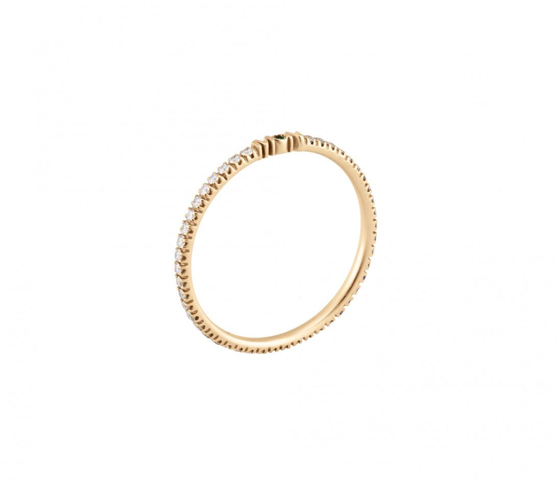 Alliance full-pavée (1,4 mm) - Or jaune 18K (1,00 g), diamants 0,20 ct - vue de profil
