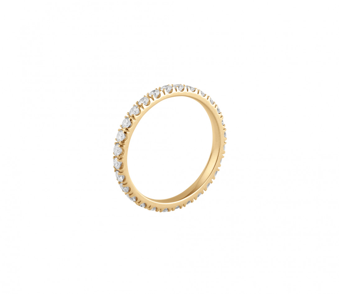 Alliance full-pavée (1,8mm) - Or jaune 18K (1,50 g), diamants 0,60 ct - Profil