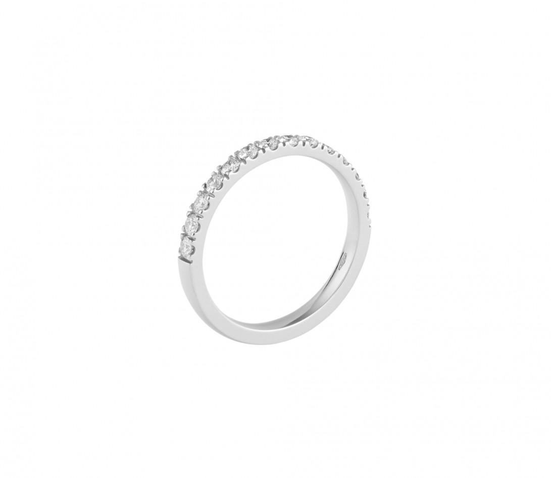 Alliance demi-pavée (2,3 mm) - Or blanc 18K (2,90 g), diamants 0,40 ct - Profil