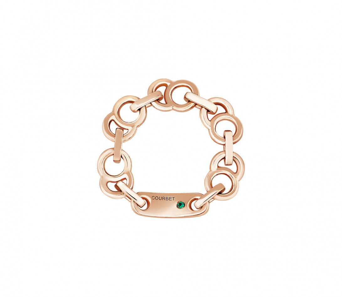 Bague chaîne CELESTE en or rose - Face