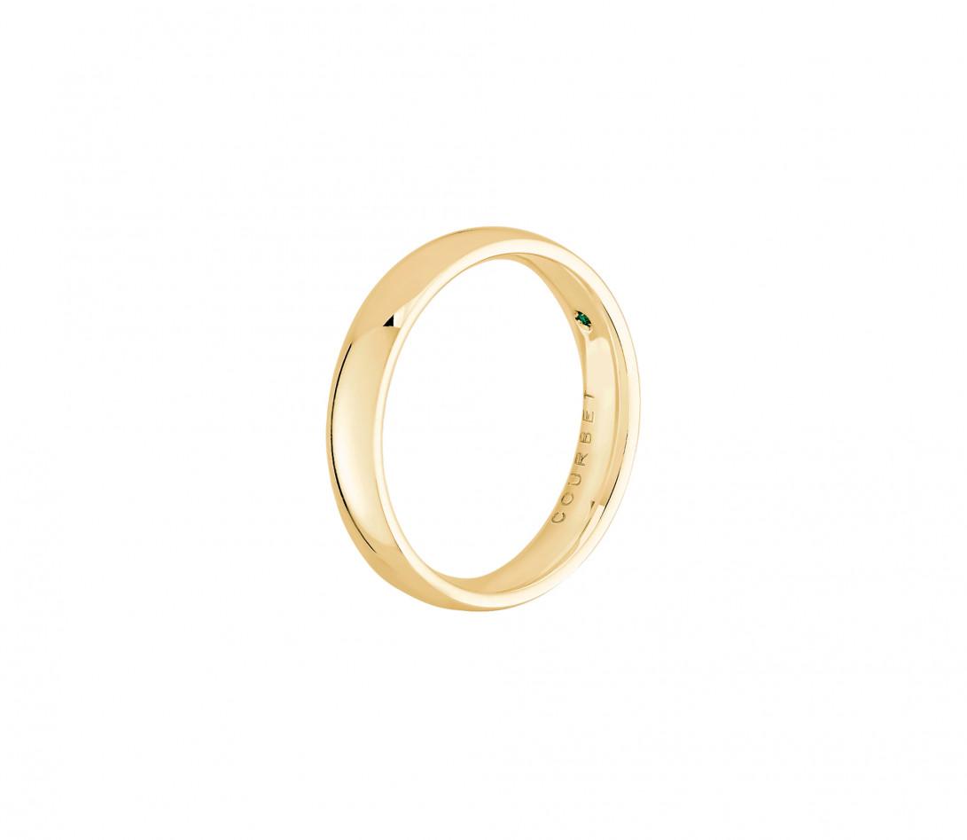 Alliance 4 mm demi-jonc en or jaune-Vue de profil