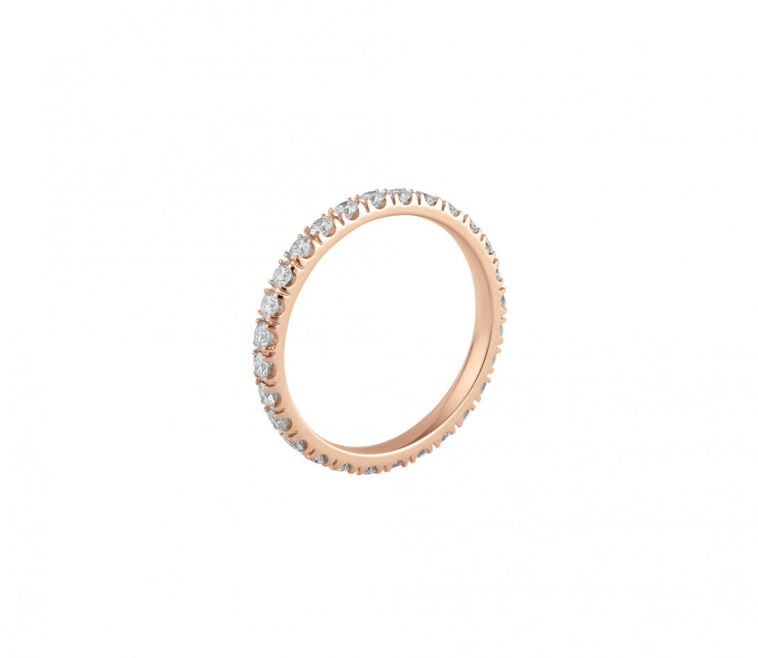 Alliance full-pavée (1,8mm) - Or rose 18K (1,50 g), diamants 0,60 ct - Profil