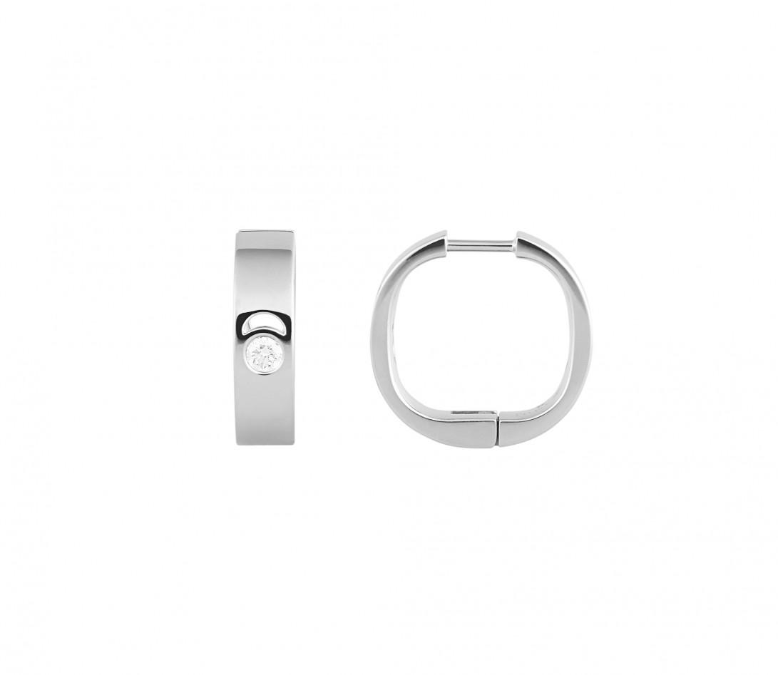 Boucles d'oreilles Eclipse - Or blanc 18K (12,00 g), diamants 0,4 cts