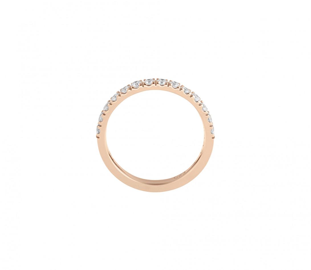 Alliance demi-pavée (2,3 mm) - Or rose 18K (2,90 g), diamants 0,40 ct - Côté