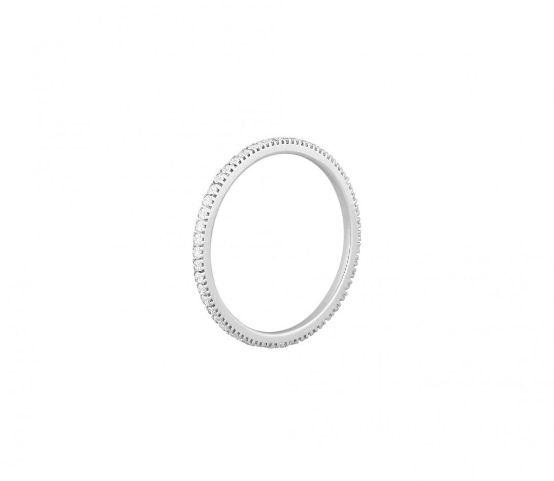 Alliance full-pavée (1 mm) - Or blanc 18K (1,00 g), diamants 0,30 ct - Profil