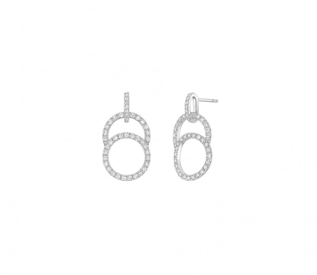 Boucles d'oreilles pendantes CELESTE pavées en or blanc - Vue 1