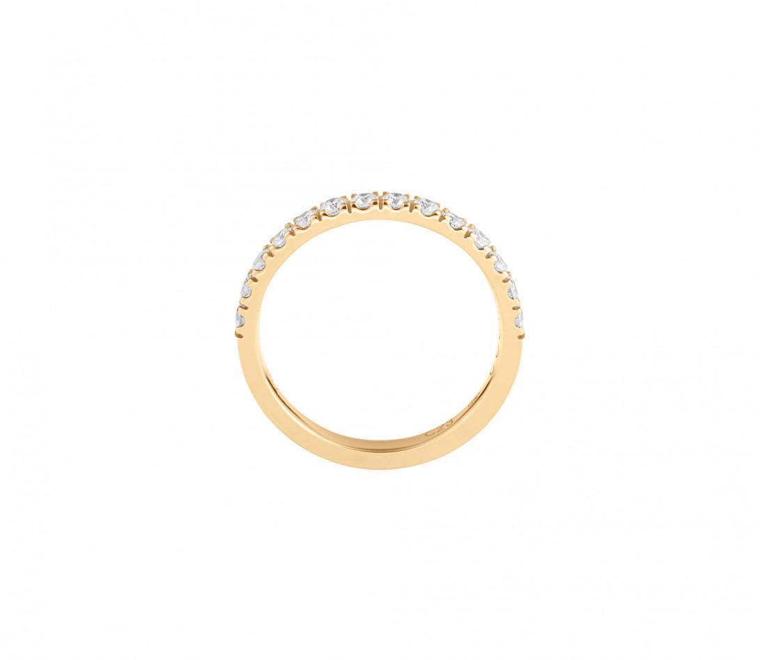 Alliance demi-pavée (2,3 mm) - Or jaune 18K (2,90 g), diamants 0,40 ct - Côté