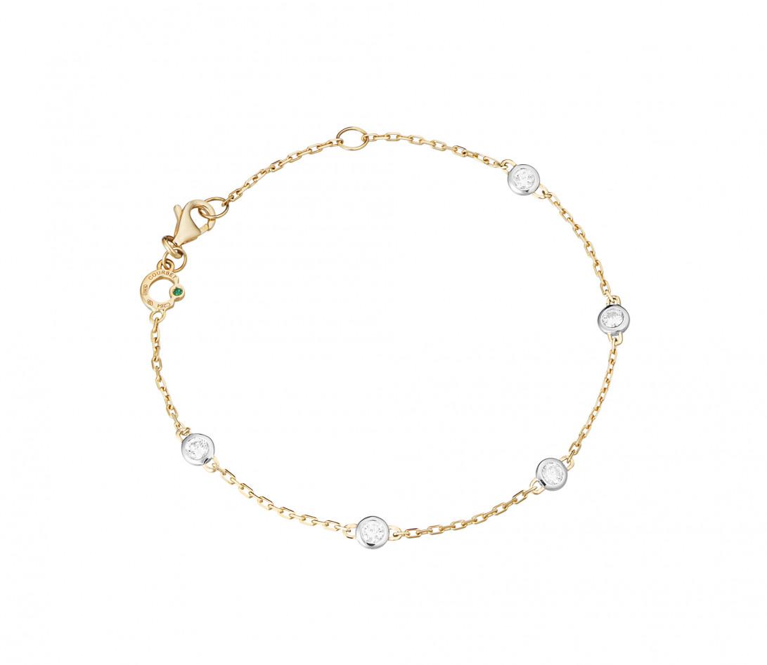 Bracelet Origine - Or jaune 18K (2,20 g), diamants 0,5 cts - Rond