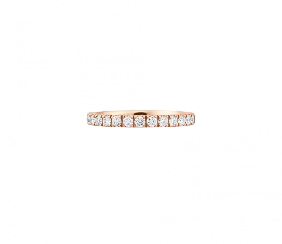 Alliance demi-pavée (2,3 mm) - Or rose 18K (2,90 g), diamants 0,40 ct - Face