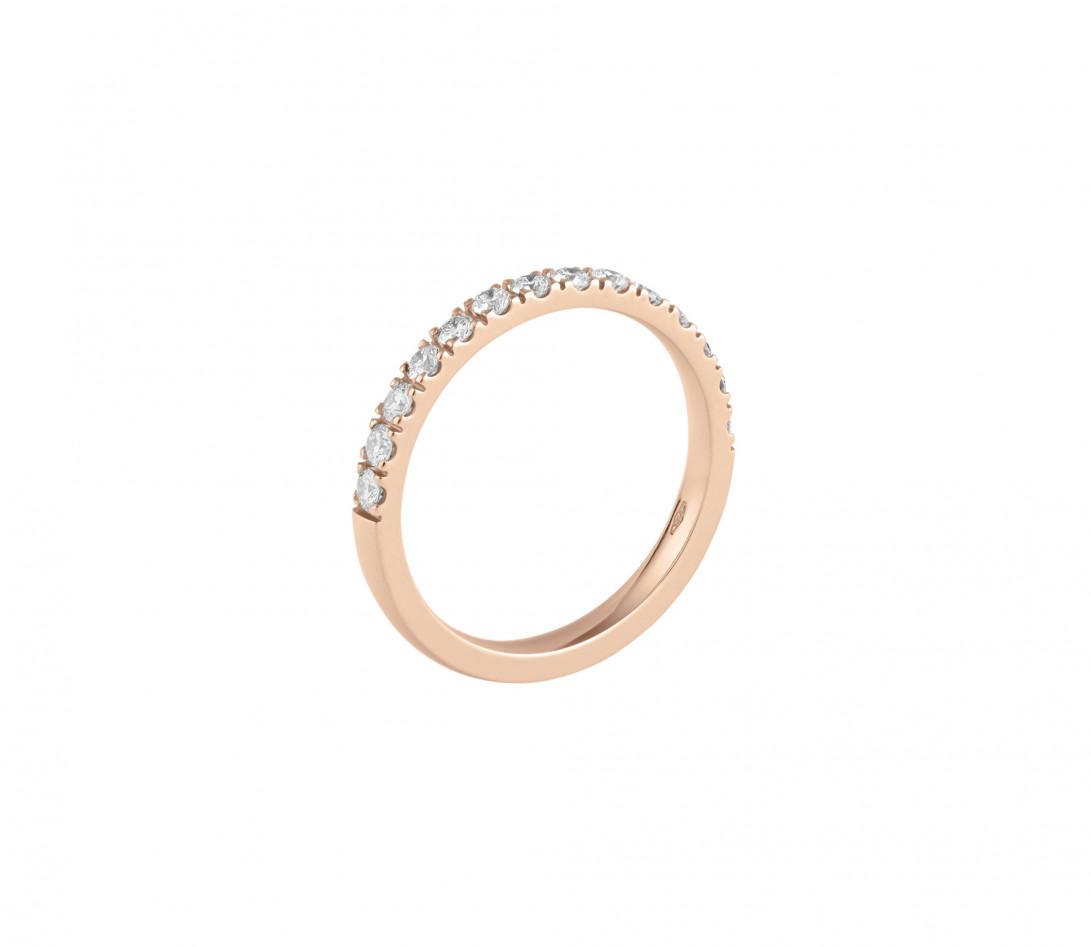 Alliance demi-pavée (2,3 mm) - Or rose 18K (2,90 g), diamants 0,40 ct - Profil