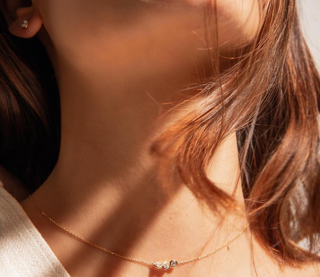 Collier 2 COURBET en or rose 18K - diamant synthétique 0,30 ct - Courbet - Vue 3
