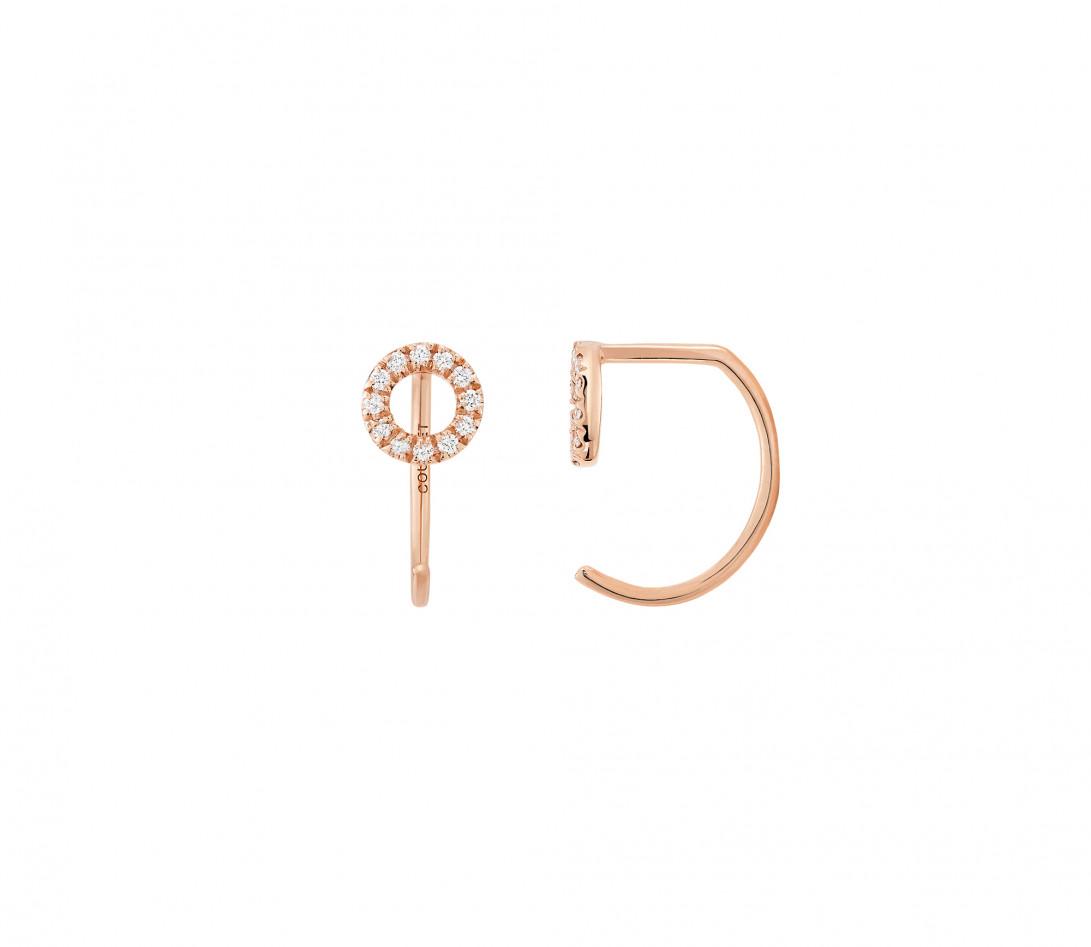 Boucles d'oreilles - Or rose 18K (1,50 g), diamants 0,12 cts - Vue 1