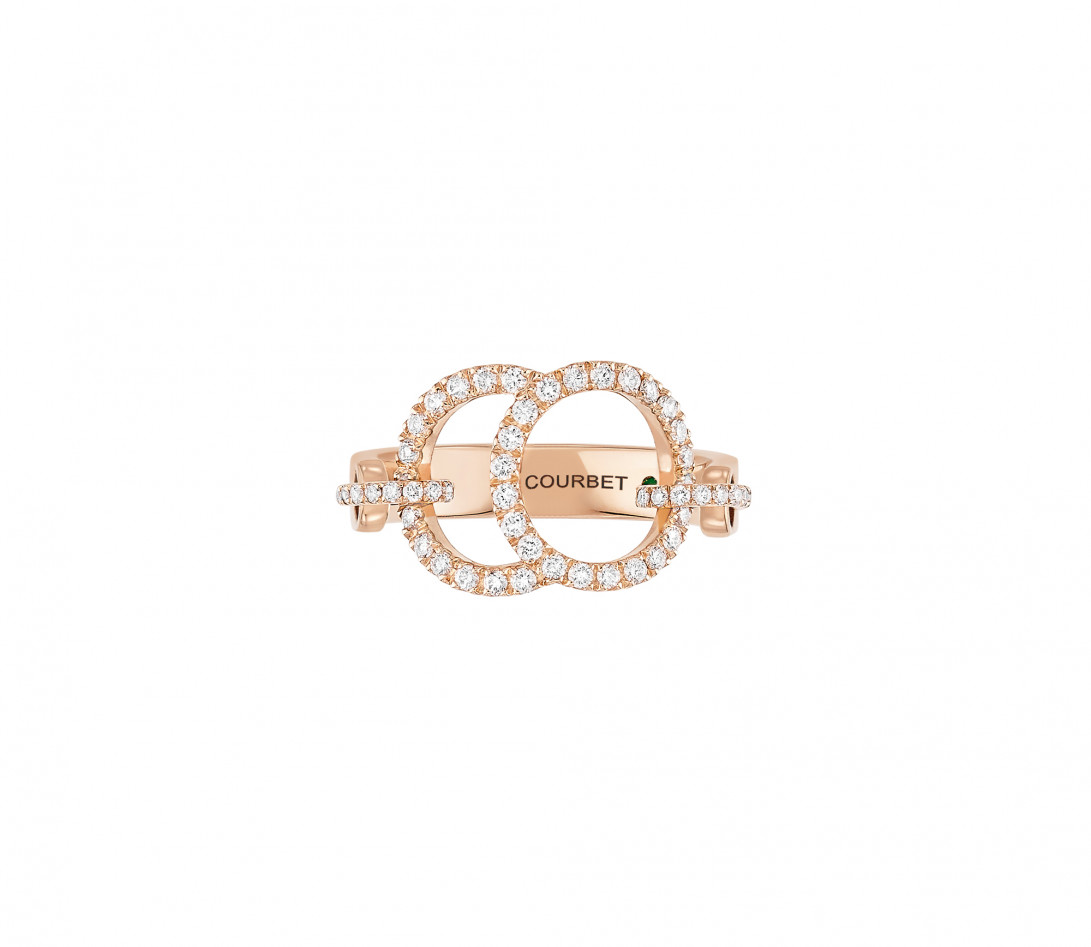 Bague Celeste - Or rose 18K (5,20 g), diamants 0,50 ct - Face