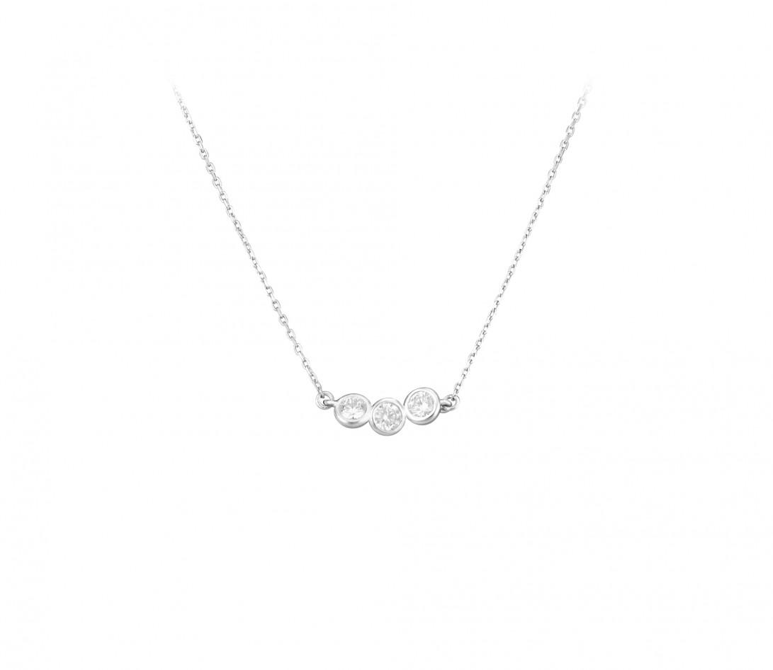 Collier Or Blanc et Diamants de synthèse 0,3 ct - 2 Courbet - Courbet - Vue 1