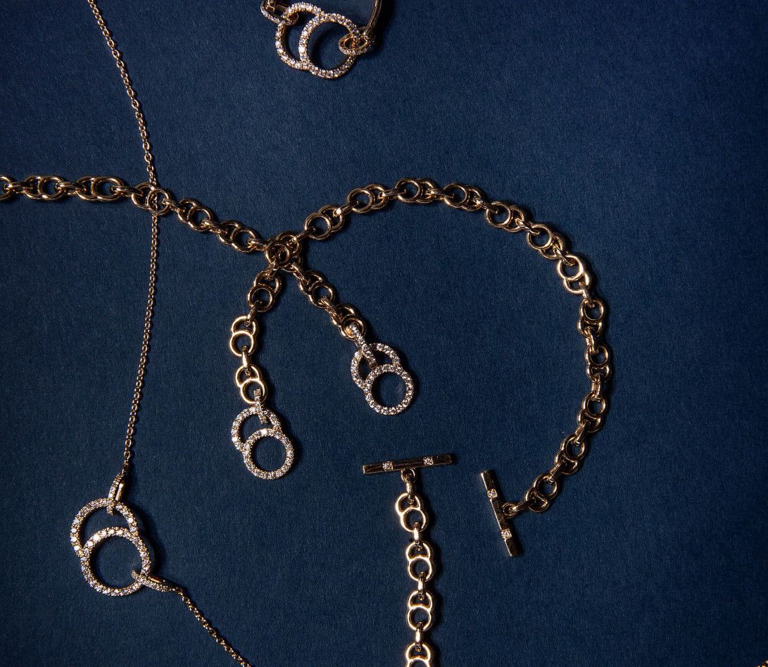Collier chaîne CELESTE 38cm fermoir pavé en or jaune - P4