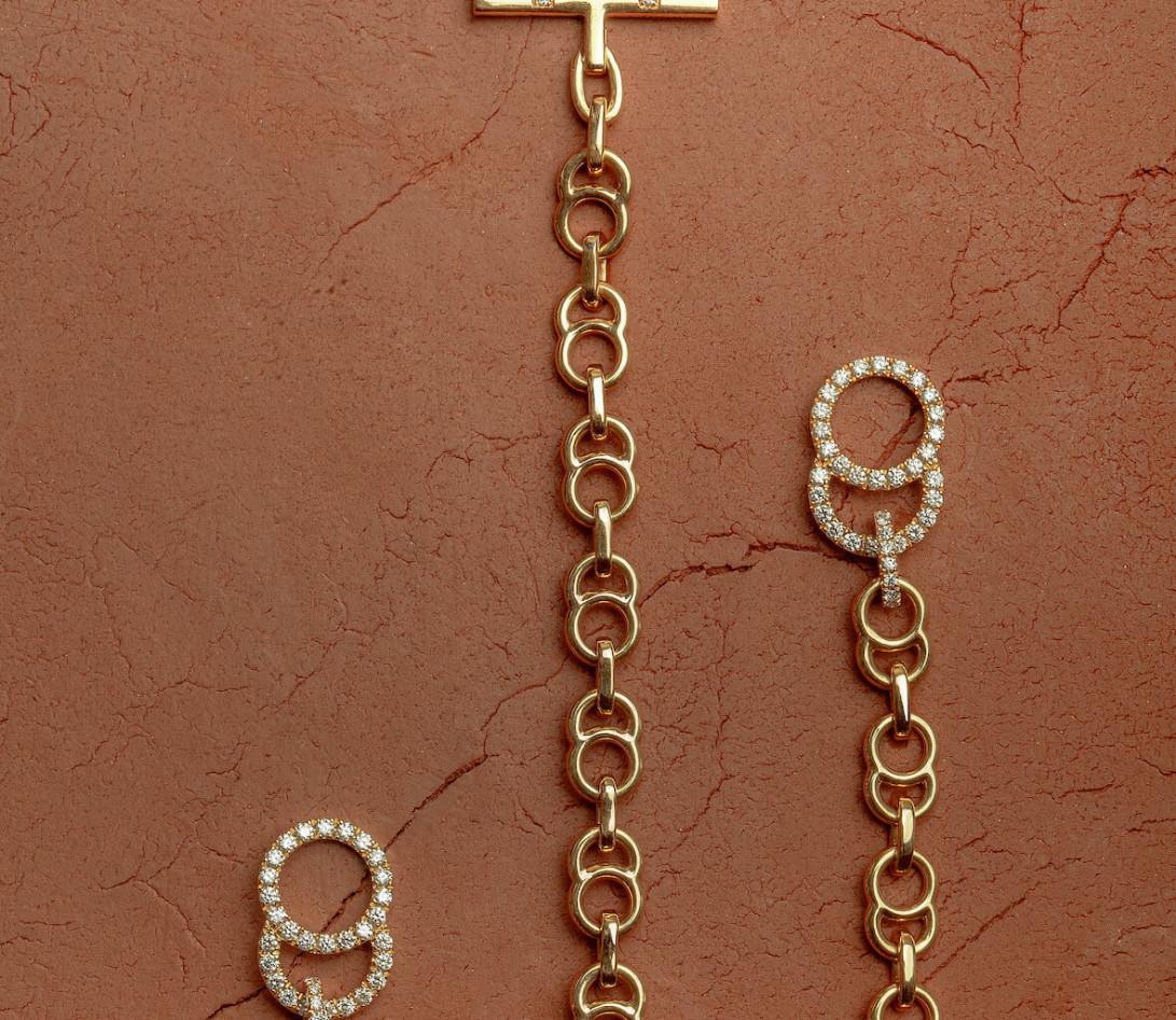Collier chaîne CELESTE 38cm fermoir pavé en or rose - P5