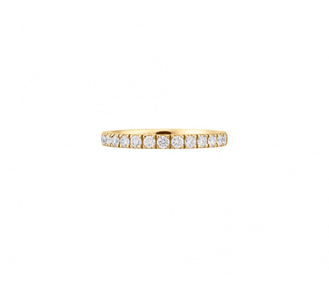 Alliance demi-pavée (2,3 mm) - Or jaune 18K (2,90 g), diamants 0,40 ct - Face